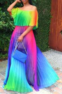 Colorful full length dress