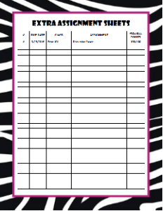 Zebra Assignment Sheet