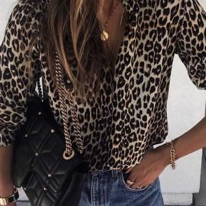 Leopard print button down top