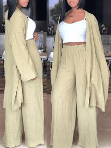Light Khaki Slouch Pant Set