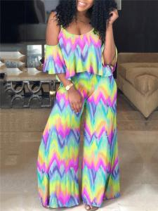 Multicolor wide leg jumpsuit