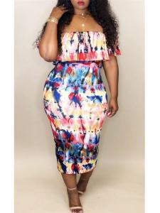 Multicolor off shoulder dress