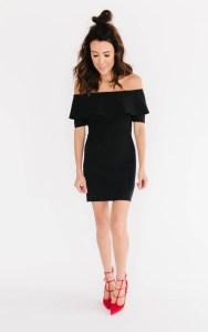 Off shoulder flounce dress