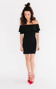 Off shoulder flounce dress