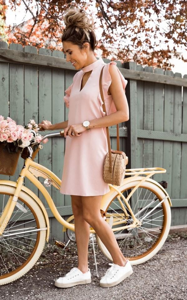 Pink flutter dress