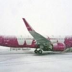 Glæný Airbus A320-neo þota WOW-air lent á Keflavíkurflugvelli