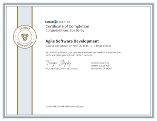 Certificate Of Completion Agile Software Development