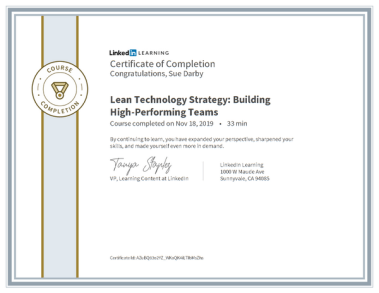 Certificate Of Completion Lean Technology Strategy Building High Performing Teams