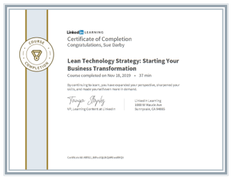 Certificate Of Completion Lean Technology Strategy Starting Your Business Transformation