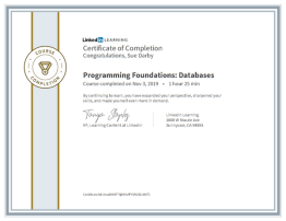 Certificate Of Completion Programming Foundations Databases