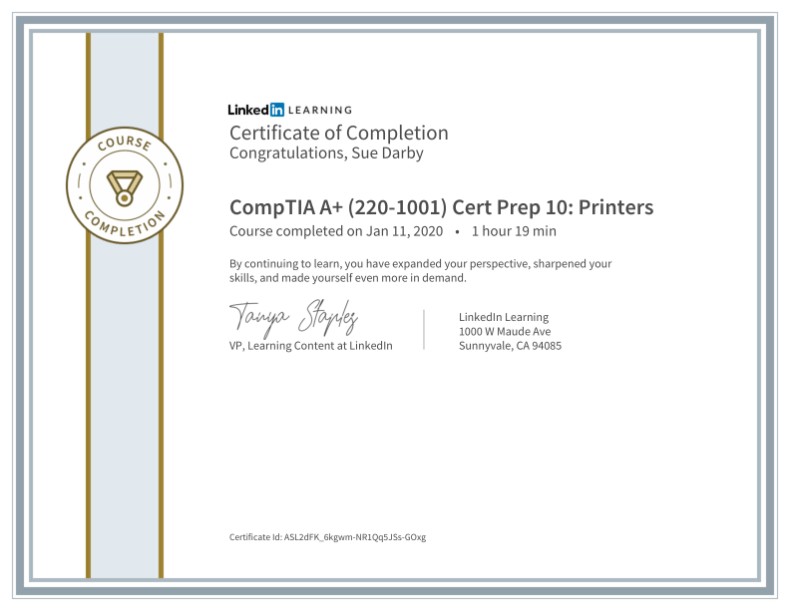 Certificate Of Completion Comptia A Plus 220 1001 Cert Prep 10 Printers
