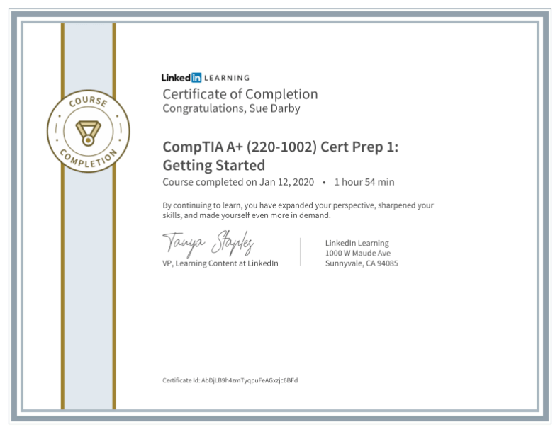 Certificate Of Completion Comptia A Plus 220 1002 Cert Prep 1 Getting Started