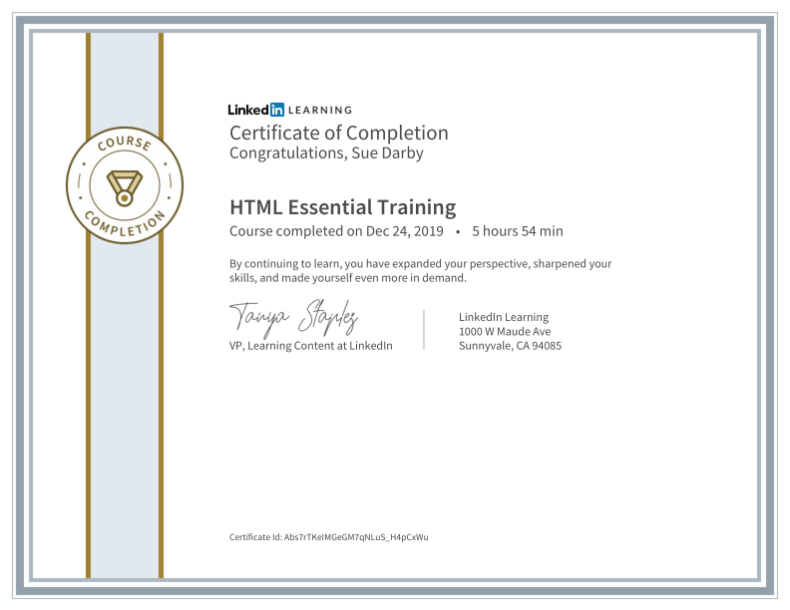 Certificate Of Completion Html Essential Training