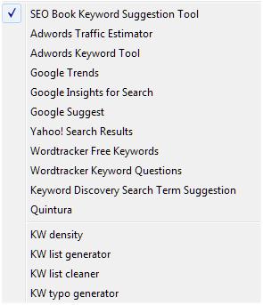 SEOBook Keyword Tools Dropdown Menu