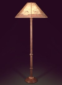 Hand Crafted Wooden Floor Lamp, Southwestern Lamp Shade