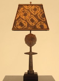 African decor: table lamp: fertility doll with Mud Cloth ...