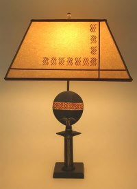 African Doll Table Lamp & Stenciled Parchment Paper Lamp ...
