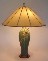 Arts & Crafts table lamp: Ephraim Faience Art Pottery