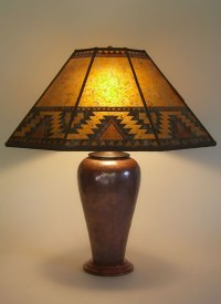 "Large Copper table lamp, ""Lightning Border"" Southwestern"