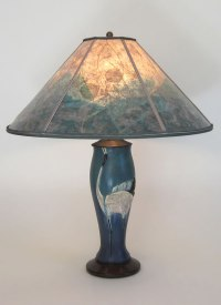 Contemporary Arts & Crafts Lamp, Ephraim Faience Dancing