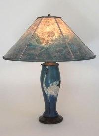 Contemporary Arts & Crafts Lamp, Ephraim Faience Dancing