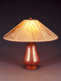 Mexican Copper Table Lamp, Round Mica Lampshade - Sue Johnson