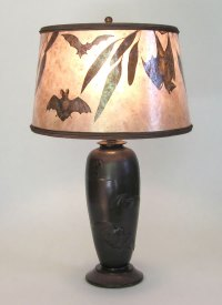 Bats! Antique table lamp and mica lamp shade with Bat design