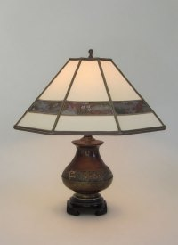 Small Antique Champlev table lamp Parchment paper lamp ...