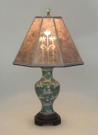Antique Green and White Cloisonn Table Lamp Mica Lamp