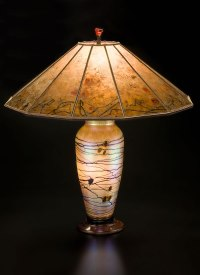 Lindsay Art Glass Table Lamp and Mica Lampshade Floral