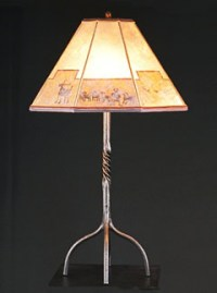 Wrought Iron Table Lamp Mica Southwestern Lamp Shade   Sue ...