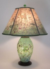 Lindsay Art Glass Speckled Green Lamp with Lighted Base