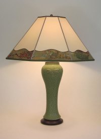 Tall Green Lonesomeville Pottery Dragonfly Lamp with Hand ...