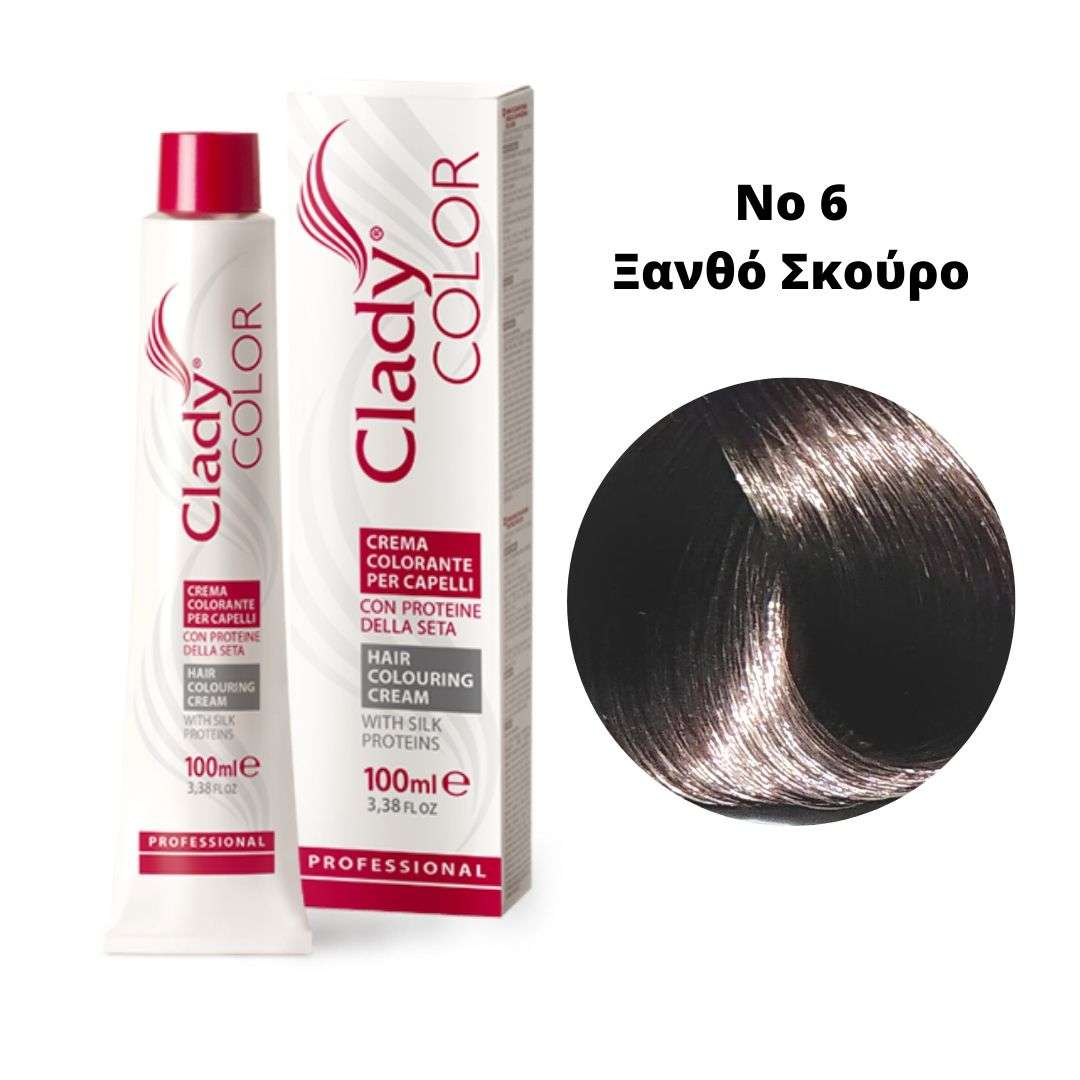Βαφή Μαλλιών Clady Color Με Πρωτεΐνες Μεταξιού Νο6 Ξανθό Σκούρο