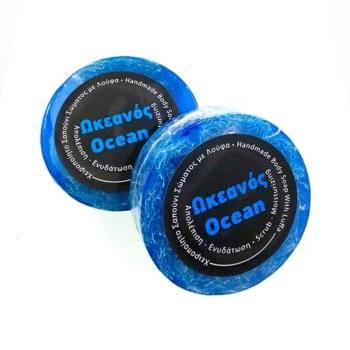 Focus Thrace Cosmetics Χειροποίητο Σαπούνι με Λούφα 100gr Ωκεανός