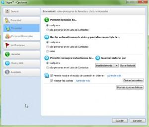 Opciones de Skype