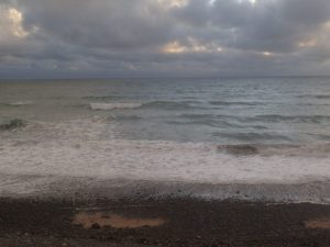 Blooding skies, Cornish beach, Cornish seas