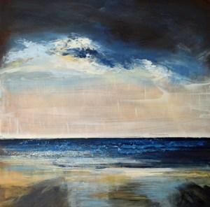 Cornish beach painting at nightfall