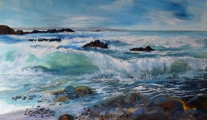 North Cornwall seascape Duckpool painting