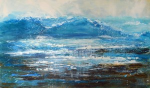large surf painting seascape Bude