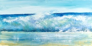 Large single painted wave with lots of movement and blues.