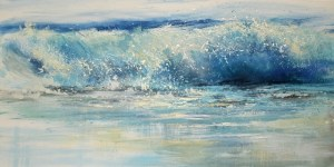 expressive wave painting of a Shore break onto wet sand in North Cornwall