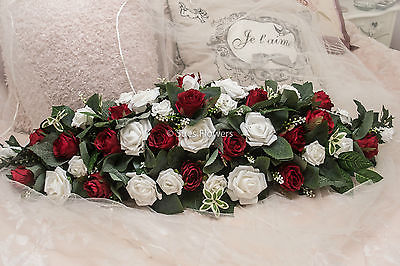 Wedding flowers table centerpiece in red and white roses 36inch wedding flowers table centerpiece in red and white roses 36inch large impressive mightylinksfo