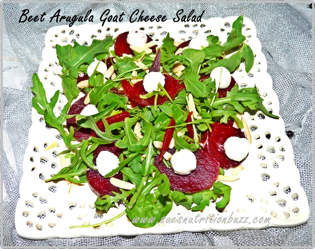 Heart Healthy Roasted Beet with Wild Arugula & Goat Cheese Salad #SundaySupper