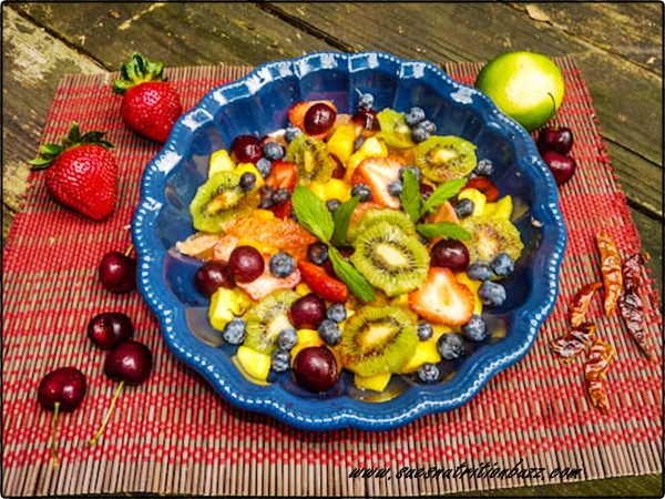 Sweet & Tangy Chili Lime Fruit Salad #SundaySupper