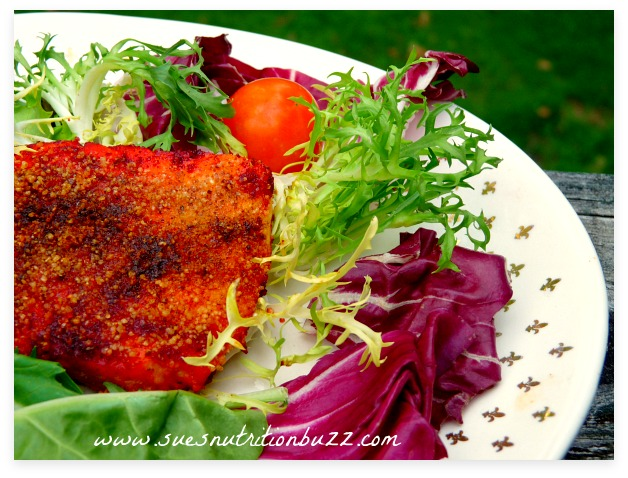Tandoori Salmon Rolled In Whole Wheat Couscous #SundaySupper
