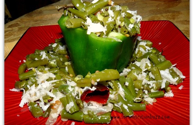Green Peppers Stuffed With Fresh Green Beans Garlic & Coconut