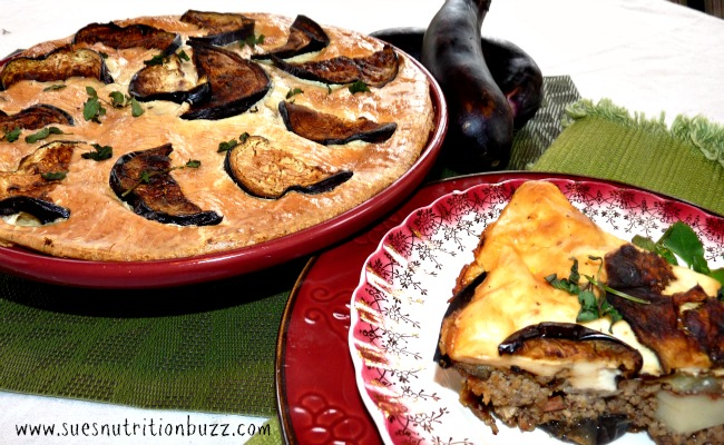 Grilled Eggplant Moussaka With Flaxseed #BakeForACure #SundaySupper