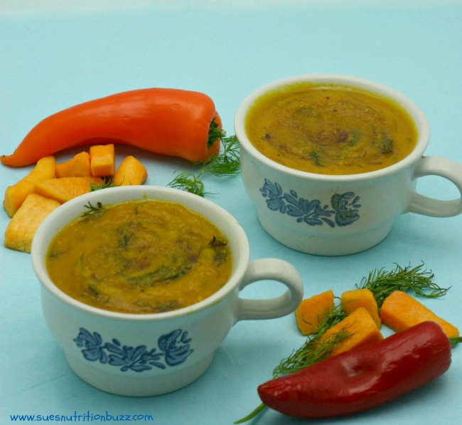 Curried Butternut Squash Soup With Fresh Herbs & Coconut Oil