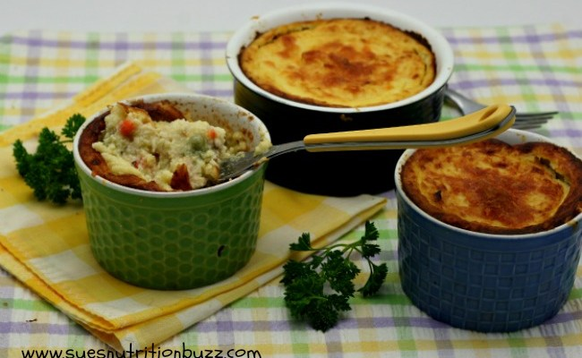 Light Chicken Pot Pies With A Cauliflower Crust #WeekdaySupper